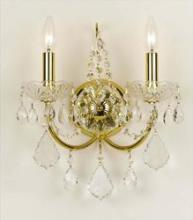Crystorama 3222-GD-CL-MWP - Crystorama Imperial 2 Light Clear Crystal Gold Sconce