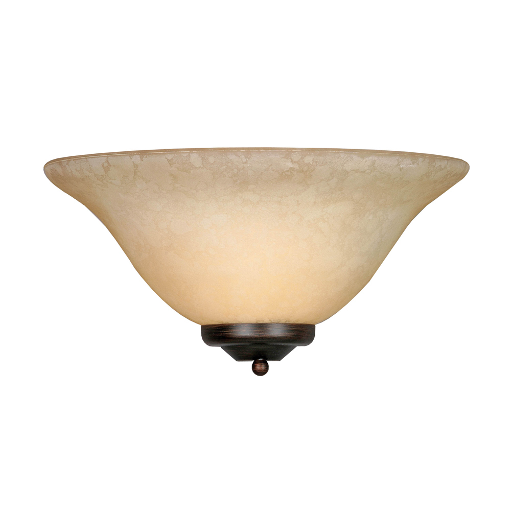 Multi-Family 1 Light Wall Sconce in Rubbed Bronze with Tea Stone Glass