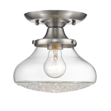 Golden Canada 3417-SF PW-CC - Asha Small Semi Flush in Pewter with Crushed Crystal Glass