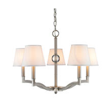 Golden Canada 3500-5 PW-CWH - Waverly 5 Light Chandelier in Pewter with Classic White Shade