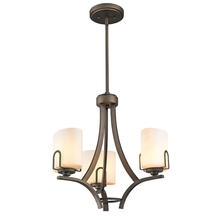 Golden Canada 9363-M3 GMT-OP - Presilla 3 Light Mini Chandelier in Gunmetal Bronze with Opal Glass