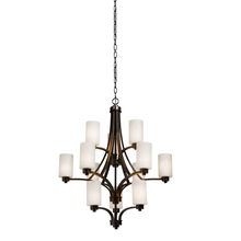 Artcraft AC1312WH - Parkdale 12 Light  Oil Rubbed Bronze White Glass Chandelier