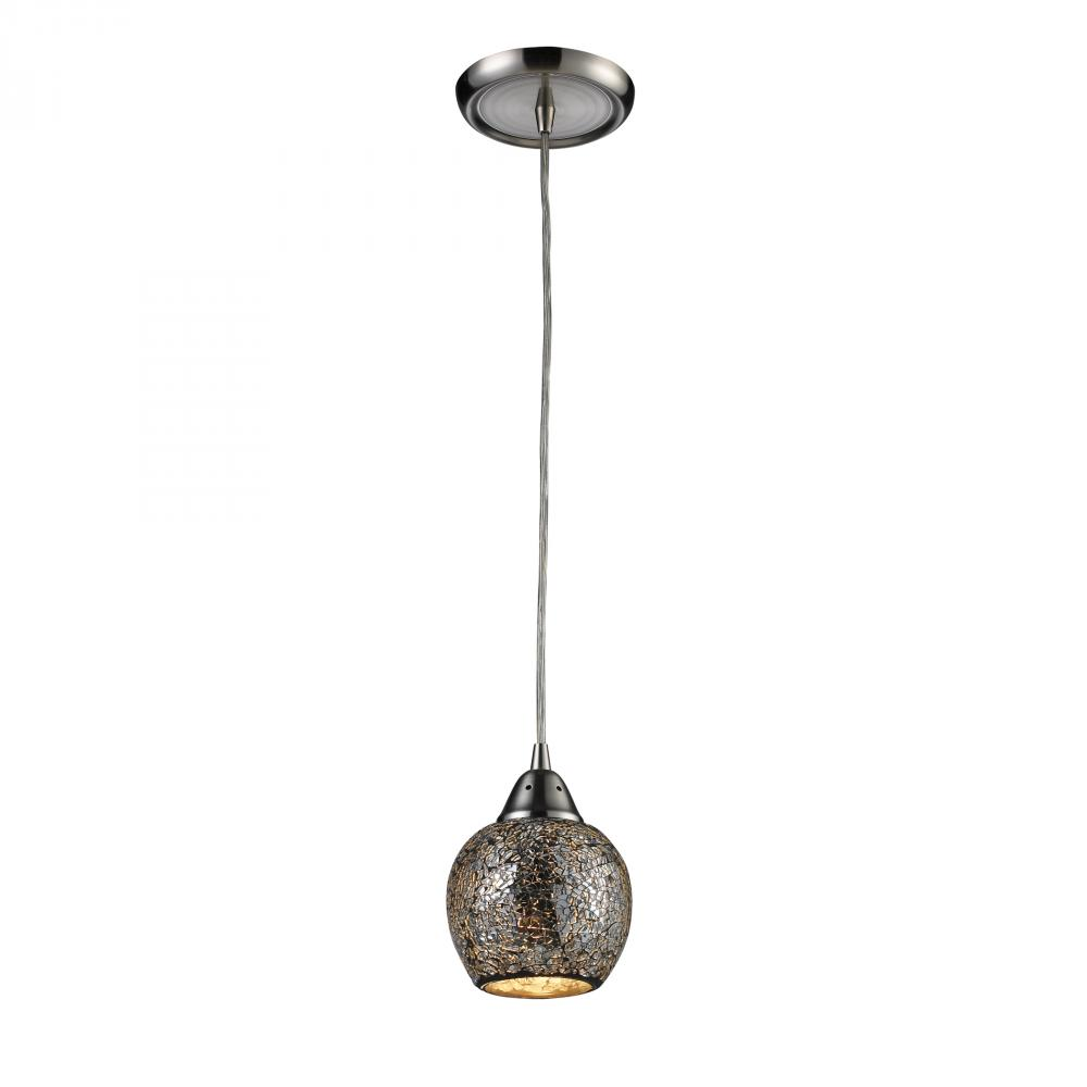 Fission 1 Light Pendant In Satin Nickel And Silv