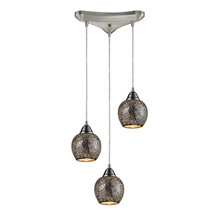 ELK Lighting 10208/3SLV - Fission 3 Light Pendant In Satin Nickel And Silv